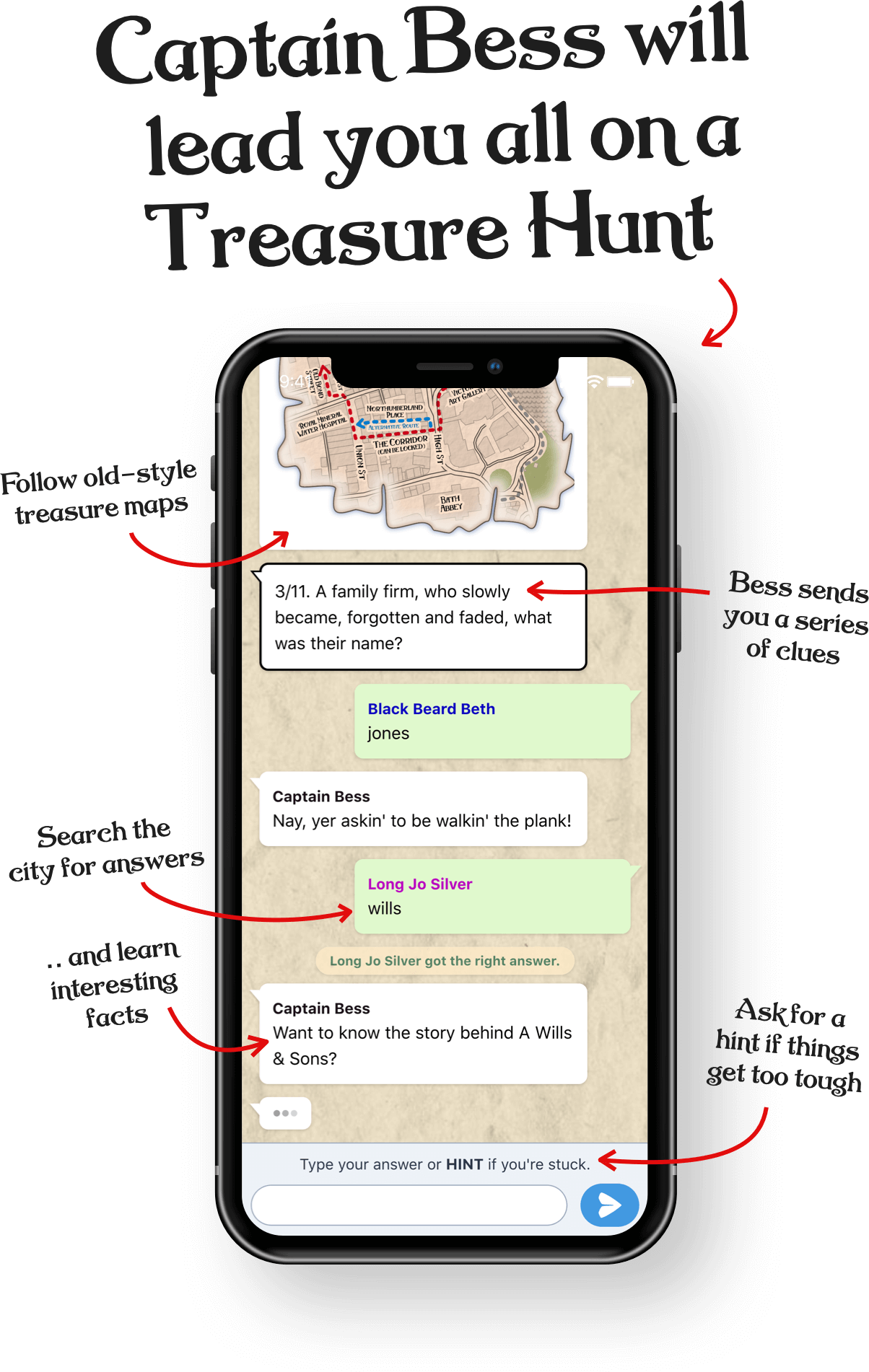 A screenshot of Treasure Hunt Liverpool which looks like a WhatsApp conversation