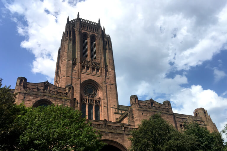 Looking up at the Anglican Cathedral from its sunken garden