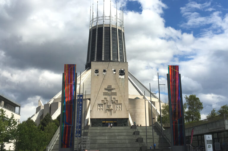 The circular Metropolitan Cathedral, one of the stops on Treasure Hunt Liverpool