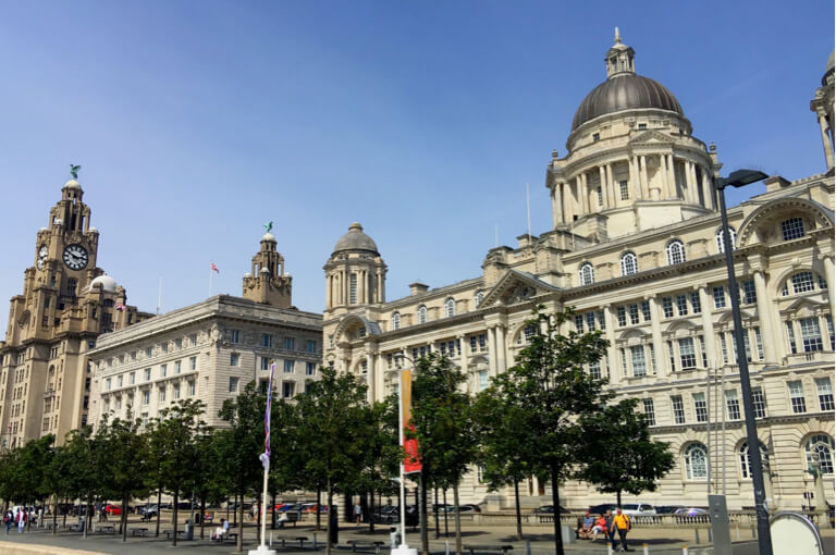 The beautiful Three Graces, on Liverpool's waterfront